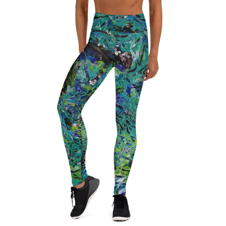 Women's Art Leggings  Ode To Greens: A Butterfly Came To image 0
