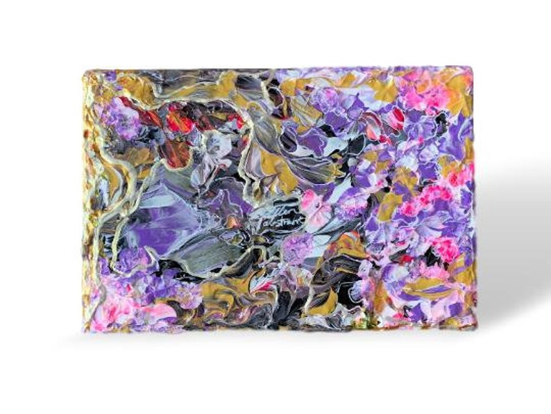 Original art abstract painting of purple pink black image 0