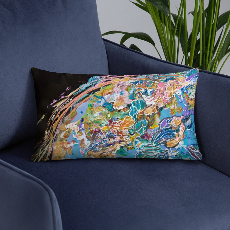 Throw Pillow  Painting our World with Color by Ellen image 0