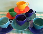 Vintage Original Fiesta Ware Teacups and Saucers Sets, 6 Calico Sets( shown) 12 Piece Collection