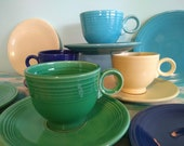 Vintage Original Fiesta Ware Teacup Sets and Bread Plates, 4 Places, CIRCA 1950, 12 Piece Collection