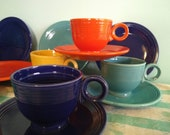 Vintage Original Fiesta Ware Teacup Sets and Bread Plates,4 places, CIRCA 1950,12 Piece Collection