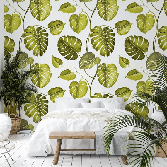 Tropical Leaves Removable Wallpaper Green Leaf Self Adhesive Wall Mural Botanical Peel Stick Decal Exotic Floral Jungle Temporary Decor