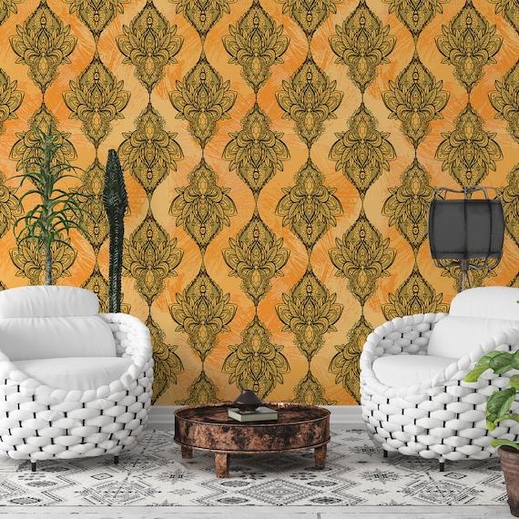 Damask Removable Wallpaper Indian Ornamental Self Adhesive Etsy