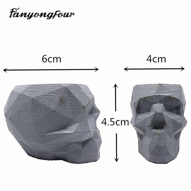 Abstract skull flowerpot silicone mold fondant cake mold resin plaster chocolate candle candy mold