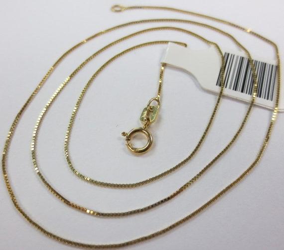 Vintage 14K Gold Box Link Chain Necklace