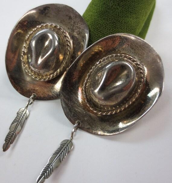 Unique Mexican Silver Cowboy Hat & Feather Sombrer