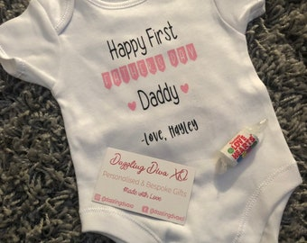 ea10ee253 First Father's Day 2019 - Baby Vest Personalised, Gift, First Time, Forst  Fathers Day, New Dad
