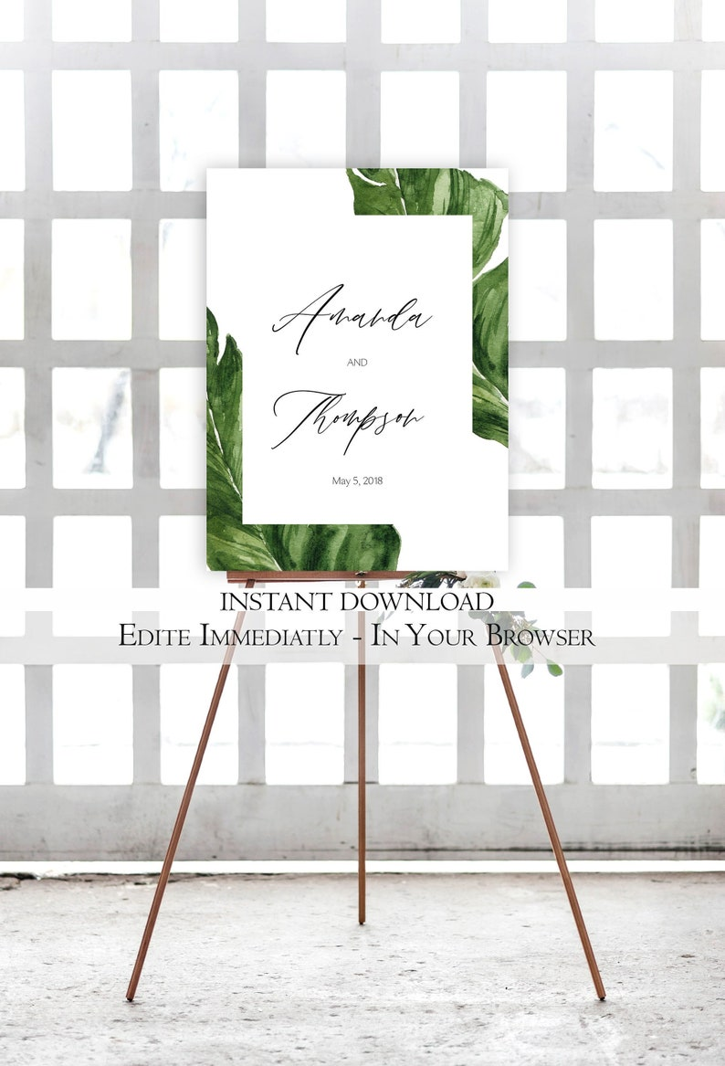 Tropical Wedding Welcome Sign Template ARIEL Ocean Wedding Welcome Sign Destination Wedding Welcome Sign Beach Welcome Sign Printable