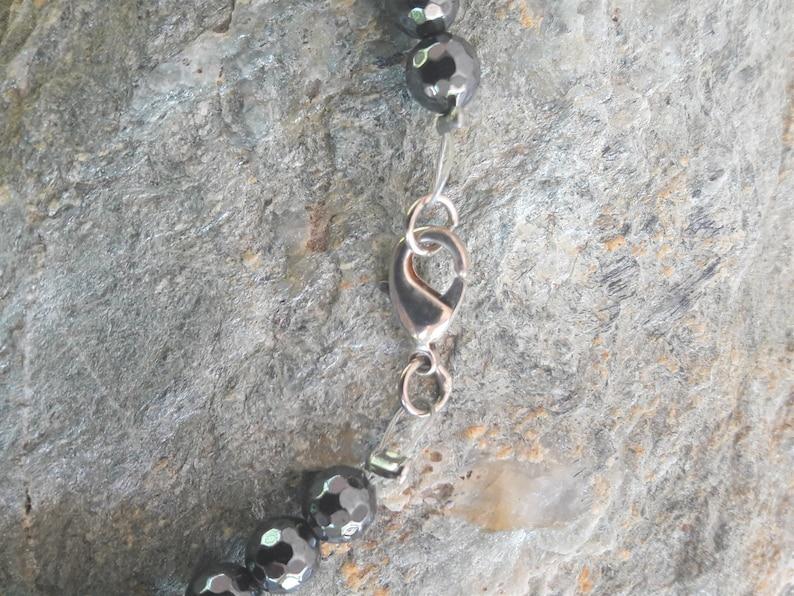 Unique female beautiful bracelet Silver 925 Gemstone chic jewels Freshwater Pearls Hematite beads Handmade woman elegant gift Birthday