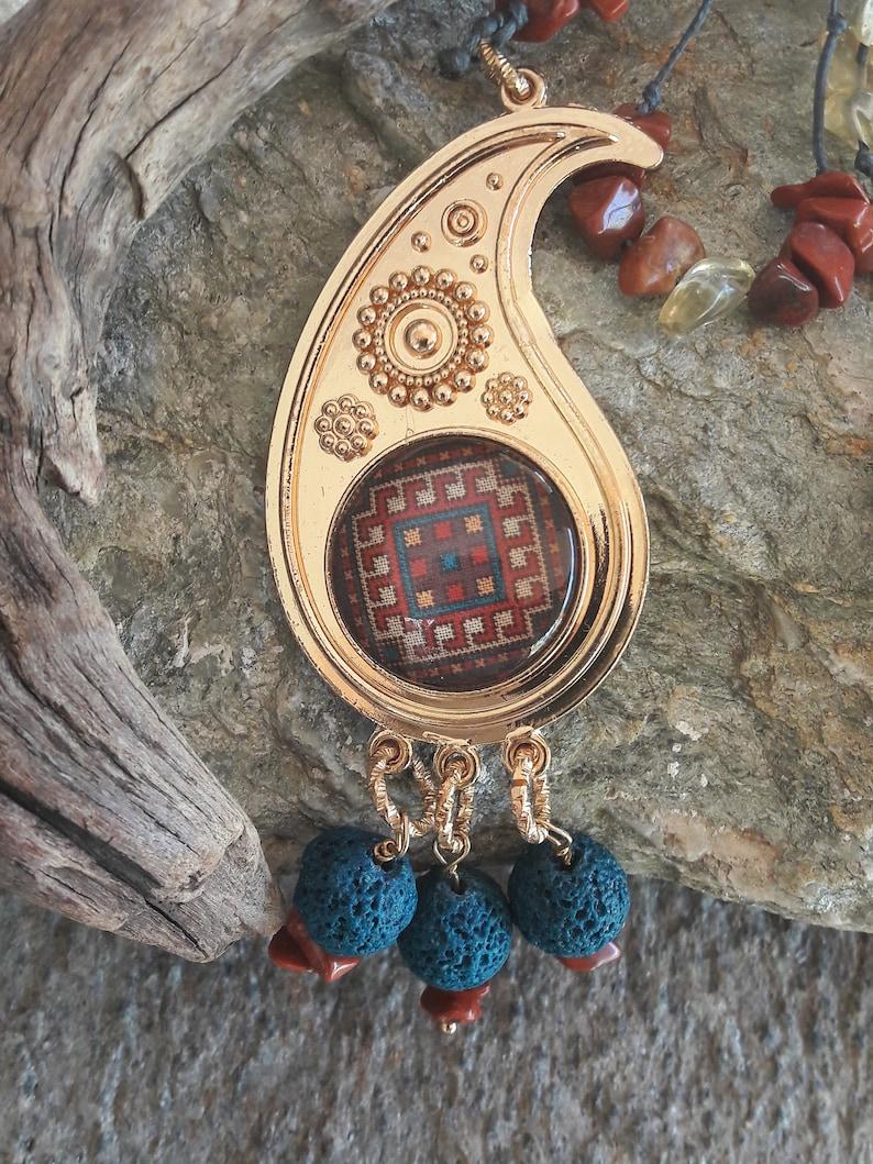 Unique beautiful long necklace Ethnic pendant Gemstone woman jewels Birthday boho style Natural Lava Jasper Citrine Handmade female gift