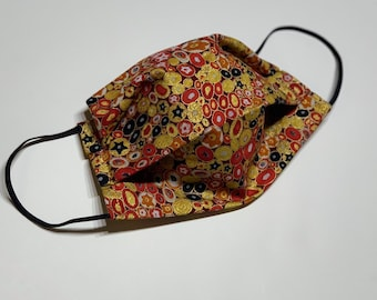 Face Mask, Klimt Red Circles, Double Layer Washable 100% Cotton Pleated, Made in the USA, Ready to Ship!