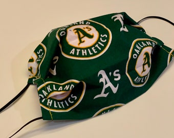 Face Mask, Oakland A's, Double Layer Washable 100% Cotton Pleated, Made in the USA, Ready to Ship!