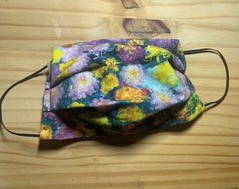 Face Mask, Monet Garden, Double Layer Washable 100% Cotton Pleated, Made in the USA, Ready to Ship!