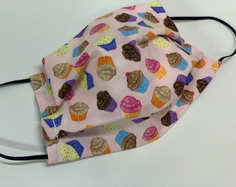 Face Mask, Cupcake Print, Double Layer Washable 100% Cotton Pleated, Made in the USA, Ready to Ship!