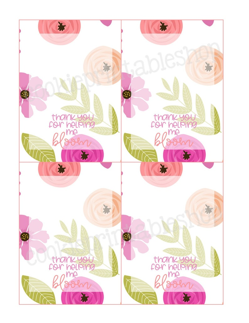 graphic relating to Thanks for Helping Me Bloom Printable referred to as thank on your own for assisting me bloom PRINTABLE CARD