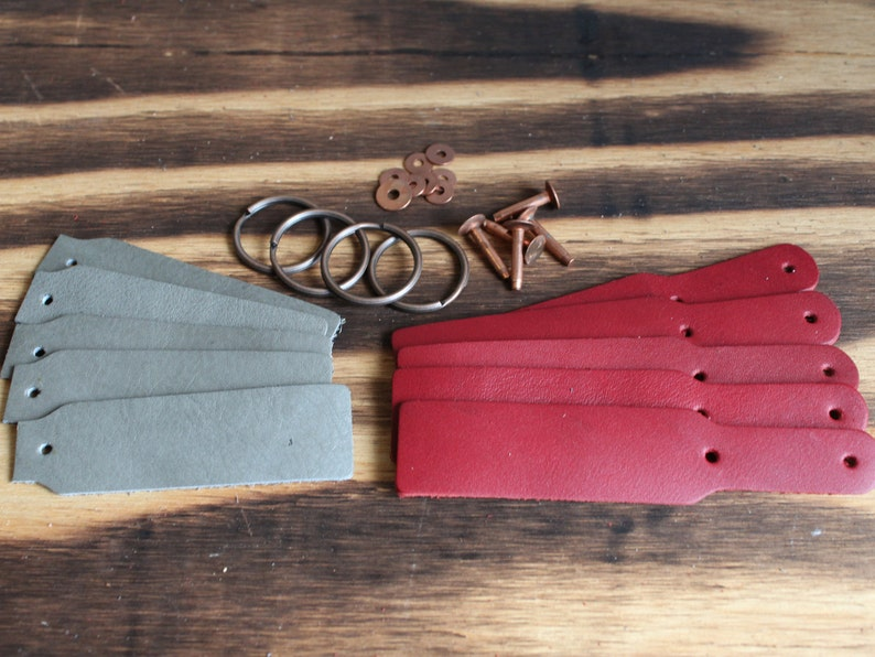 leather key fob OSU Scarlet and Gray Leather Key fobchain kit OHIO ohio key fob kit leather key chain