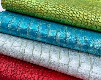 Rainbow Snake Leather Hides //// Genuine Leather //// Metallic Colorful Snake Print