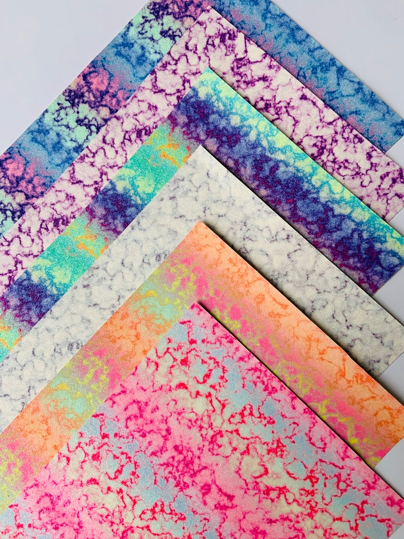Glitter faux leather sheets. Tie dye fabric Hairbows image 0