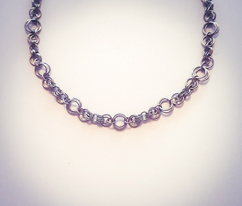 Silver Moon Chain Jewelry-Lunar Style Bracelet-Silver Colored Steel Choker Necklace-Lunar Inspired Matching Handmade Jewelry-Get Yours Now!