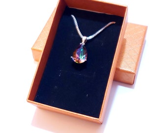Rainbow FIre Mystic Topaz Pendant Necklace | Fast Shipping from US | 925 Sterling Silver Chain | Gift Box
