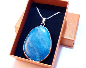 Natural Blue Agate Pendant | LIMITED Supply | All Unique Stones | Fast Shipping from Utah | Perfect Gift | Irregular Designs