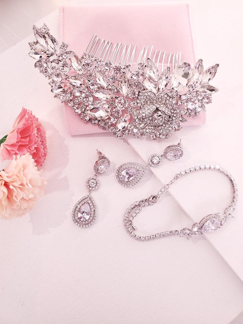 Bridal accessories bridal earrings dangle bridal hair comb silver hair comb wedding jewelry bridal jewelry set bridal bracelet
