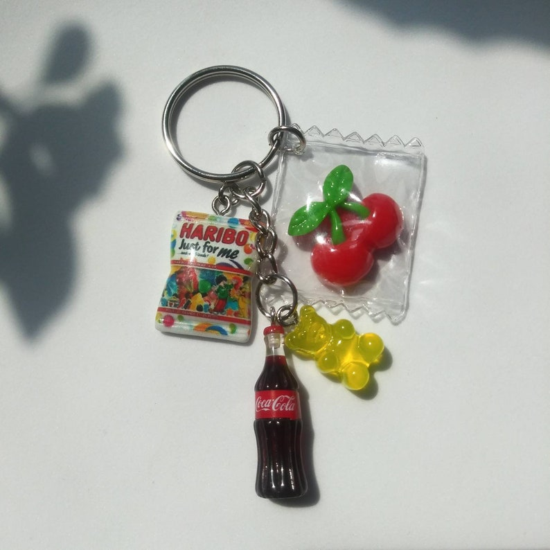 cute kawaii keychain Haribo just for me..and my friend gummy bear candies keychain miniature food and drink