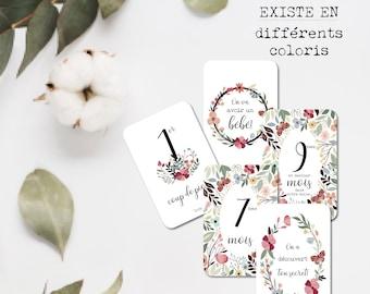 Step cards - Pregnancy - Baby - Family - Souvenir - Stationery - Floral