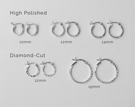New Small Hoop Earrings in 925 Sterling Silver 12 mm wide 1.2 mm Thick