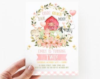 Farm Birthday Invitation Girl, 2nd Birthday Farm Invitation, Blush Pink Two Invitation, Baa Oink Quack Moo, Cow, Pig, Sheep, Duck Farm, F2