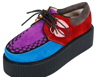0d95959d778 Handmade Women s Suede Lace Up Platform Oxfords Flats Creepers Shoes Purple  Colorful