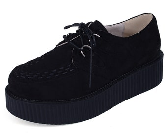 ae56f3c54ac Handmade Men s Suede Lace Up Platform Oxfords Flats Creepers Shoes Black