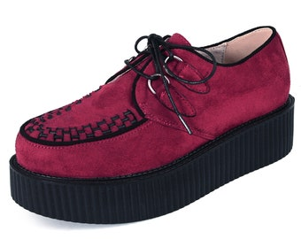 cf2ff69501a Handmade Men s Suede Lace Up Platform Oxfords Flats Creepers Shoes Wine Red