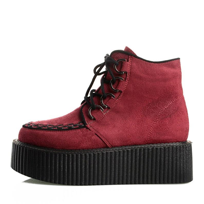 bc81e438d7a97 Handmade Women's Suede High Top Lace Up Platform Flats Boots Punk Shoes