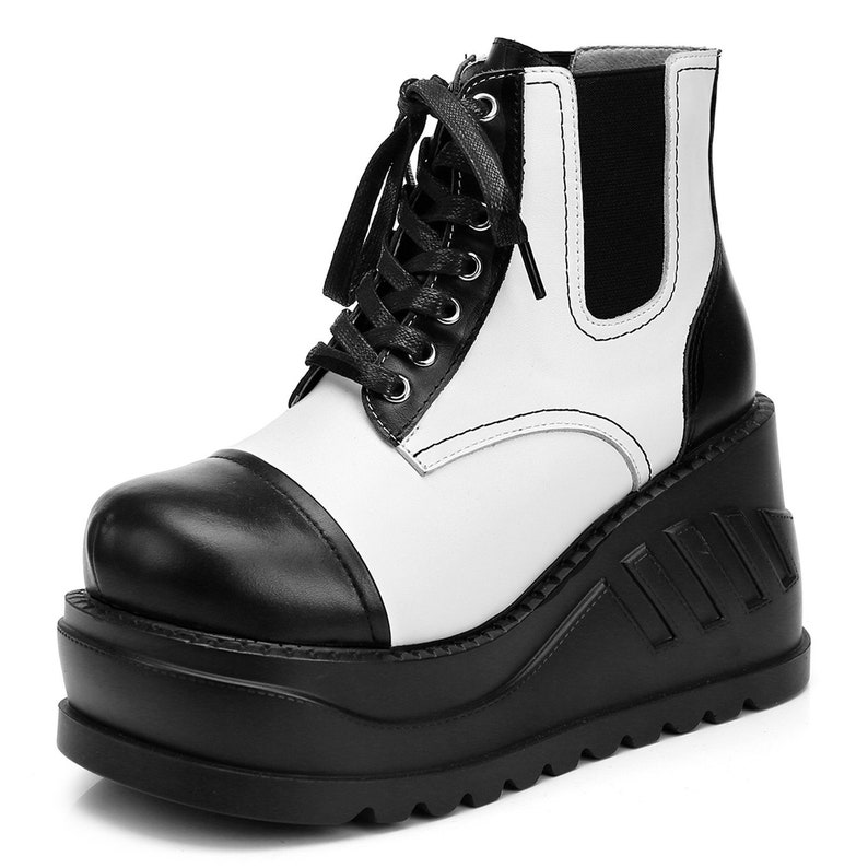 7079ce802f38c Handmade Women's Leather Lace Up Oxfords Punk Goth Creepers Platform Wedge  Flats Combat Boots