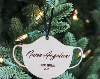 Our Hero Mask Ornament / 2020 Ornament / Pandemic Ornament Wood Tags / Custom Tags / Personalized Tags / Frontline Hero / Minimal Gift /