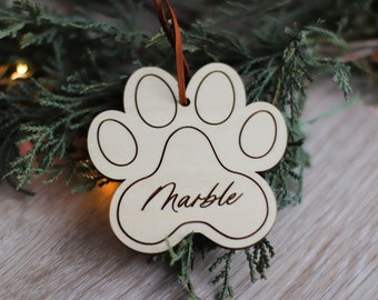 Personalized Dog Ornament / Paw Print Ornament / Dog Lover / Pet Gift / Custom Ornament / Christmas Gift / Minimal Gift