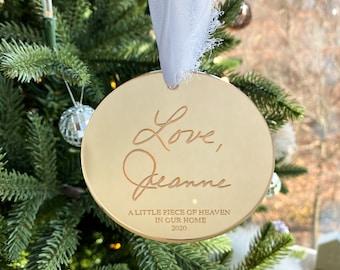 Heart Shaped Engraved Handwritten Ornament / Handwritten Keepsake / Handwritten Gift / Personalized Ornament / Handwriting Keepsake