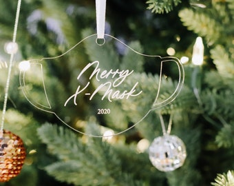 Merry X Mask Ornament / 2020 Ornament / Pandemic Ornament Wood Tags / Custom Tags / Personalized Tags / Christmas Tags / Minimal Gift /