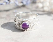 Silver & Amethyst Botanical Leaf Ring Size P (8) / Chunky Statement Ring / Healing Calming Natural Gemstone Jewellery / Handmade in Wales