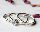 Silver Love or Cariad Rings. Handmade Sterling Silver Welsh Love Rings. Valentine Gifts for Her. Welsh Cariad Jewellery. Aquamarine optional