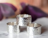 Handmade sterling silver hammered wide band ring