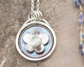 Silver & Prehnite Floral Shadow Box Pendant / Flower Shadowbox Necklace / Unique Jewelry. / Healing Calming Jewellery / Handmade in Wales