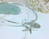 Silver Starfish Bangle, Silver Bangle with Initial Letter Charm, Heart Charm Bangle, Sterling Silver Bangle with Letter Charm, Personalised