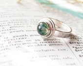 Sterling Silver Green Moss Agate Ring | Chunky Gemstone Ring | Handmade Healing Jewellery | Gifts For Her | Healing Ring | Handmade in Wales