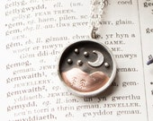 Starry Night Shadow Box Pendant // Moon and Stars Mountain Necklace // Sterling Silver & Recycled Copper Eco Jewellery / Handmade in Wales