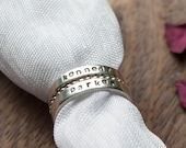 Personalised family name Handmade silver stacking rings // Choose your own text // Birthday rings // Family Rings // Anniversary rings