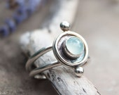Aqua Chalcedony Silver Pebble Ring / Oxidised Shadow Box Statement Rings / Recycled Silver Jewellery / Healing Jewelry / Handmade in Wales