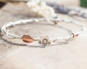 Silver Flower & Vine Bangle / Recycled Copper /  Silver Stacking Bangles / Floral Nature Lovers Jewellery / Handmade in Wales